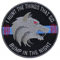 Thin Blue Line Bump In The Night Wolf Patch | Embroidered Patches