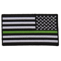 Thin Green Line American Flag Reversed Patch | US Military Veteran Patches