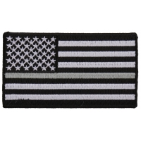 Thin Silver Line American Flag For Corrections | Embroidered Patches