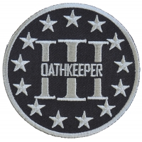 Three Percenter Oathkeeper Round Patch Gray | Embroidered Patches