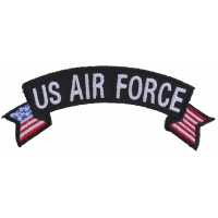 US Air Force Small Rocker Patch With Flags | US Air Force Military Veteran Patches