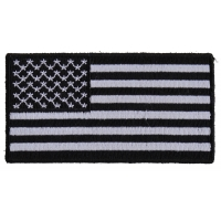 US Flag Patch Black And White 3 Inch