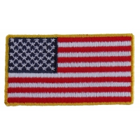 US Flag Patch Gold Border 2.5 Inch