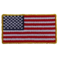 US Flag Patch Gold Border 2 Inch