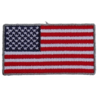 US Flag Patch Silver Border 2.5 Inch