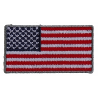 US Flag Patch Silver Border 2 Inch
