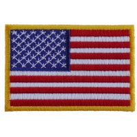 Us Flag Patch Small Yellow Border 3 Inch | Embroidered Patches