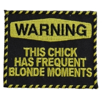 Warning Frequent Blond Moments Patch | Embroidered Patches