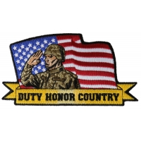 Duty Honor Country Soldier with US Flag Patch