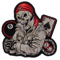 Biker Dude Ace Of Spades, 8 Ball, Dice And Fun Small Patch | Skull Patches