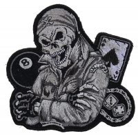 Biker Dude Skull Small Patch In Gray