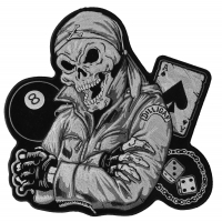 Biker Guy Skull Large Back Patch In Gray