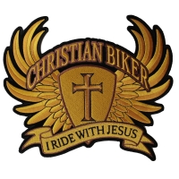 Christian Biker Patch Large In Brown I Ride With Jesus