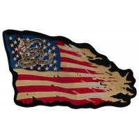 Don't Tread on Me Tattered US Flag Large Back Patch