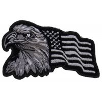 Eagle With Waving Flag Black Silver Patch | US Military Veteran Patches