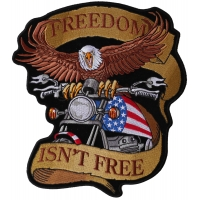 Freedom Isn't Free Biker Eagle Patriotic Large Back Patch