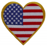 Gold Border Love US Flag Heart Patch | Embroidered Patches