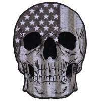 Gray USA Flag Skull Patch Small