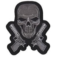 Guns And Skull Chrome Patch - Skull Patches
