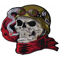 Helmet Skull Scarf Biker 69 Large Back Patch
