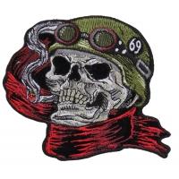Helmet Skull Scarf Biker 69 Patch