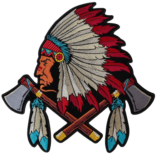 Patch Embroidered Indian Chief Sew-On X-Large