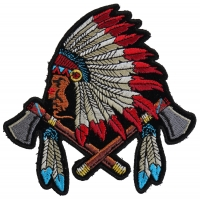 Small Indian Patch With Battle Axes And Feathers