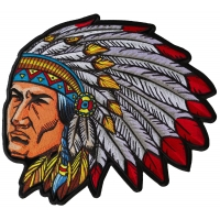 Indian Head Dress Chief Large Back Patch