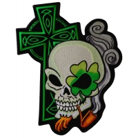 Irish Skull Cross Smoking Pipe Large Back Patch