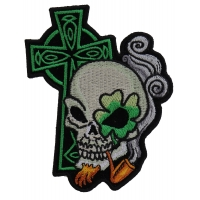 Irish Skull Cross Smoking Pipe Small Patch