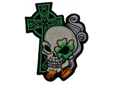 2c10c74f4f4 Irish Skull Cross Smoking Pipe Small Patch