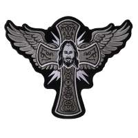 Jesus Wings and Cross Large Christian Back Patch