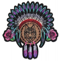 Ladies Native Head Dress Roses and Wolf Patch