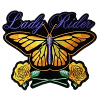 Lady Rider Butterfly And Yellow Roses Large Back Patch | Embroidered Biker Patches