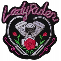Lady Rider Chain Engine Large Biker Back Patch