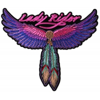 Lady Rider Large Pink Wings And Feather Biker Patch | Embroidered Biker Patches