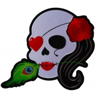 Lady Sugar Skull With Pink Rose And Feather Large Patch