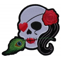 Lady Sugar Skull With Pink Rose And Feather Small Patch