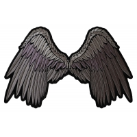 Large Beautiful Angel Wings Grey Patch | Embroidered Patches