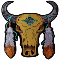 Large Buffalo And Feathers Back Patch | Embroidered Patchese