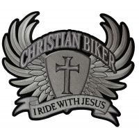 Large Christian Biker Back Patch I Ride With Jesus | Embroidered Biker Patches