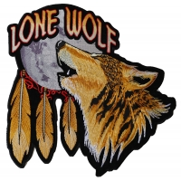 Lone Wolf Howling At The Moon Large Back Patch | Embroidered Biker Patches
