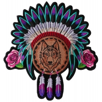 Native Head Dress Roses and Wolf Ladies Back Patch