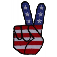 Peace Hand Sign with American Flag Patch