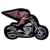 Pink Biker Angel On Motorcycle Patch | Embroidered Biker Patches