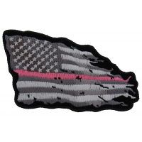 Pink Stripe Tattered American Flag Patch