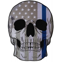 Police Skull US Flag with Blue Line Large Back Patch