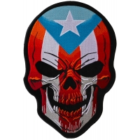 Puerto Rican Large Skull Back Patch With Puerto Rico Flag Colors