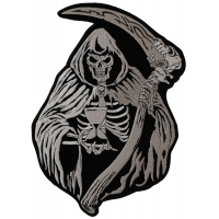 Reaper Skull Sand Clock Large Patch | Embroidered Biker Patches