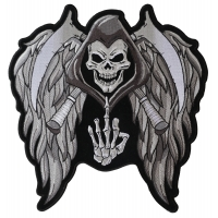 Reaper Skull Wings Middle Finger Patch Large